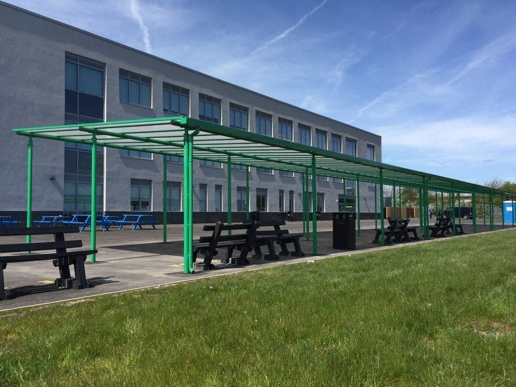 Straight roof shelter we designed for Blackpool Aspire Academy