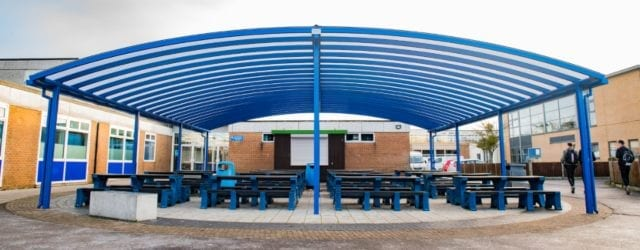 Dining area canopy we installed at Tewkesbury School