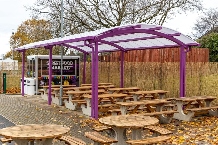 Curved roof dining shelter we made for Thistley Hough Academy