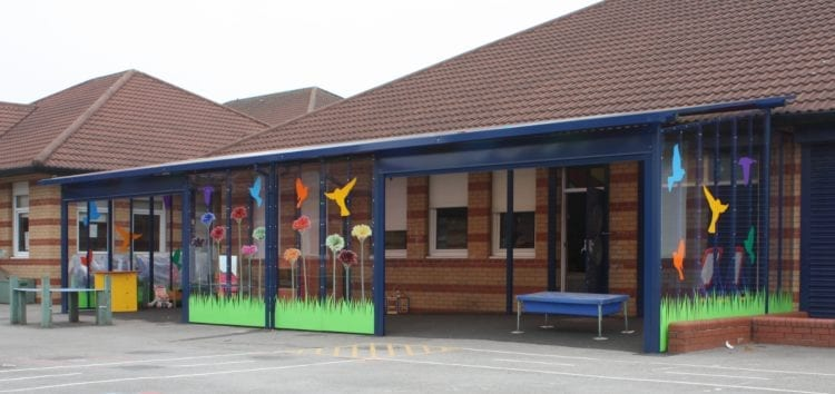 Enclosed canopy we designed for Monksdown Primary School