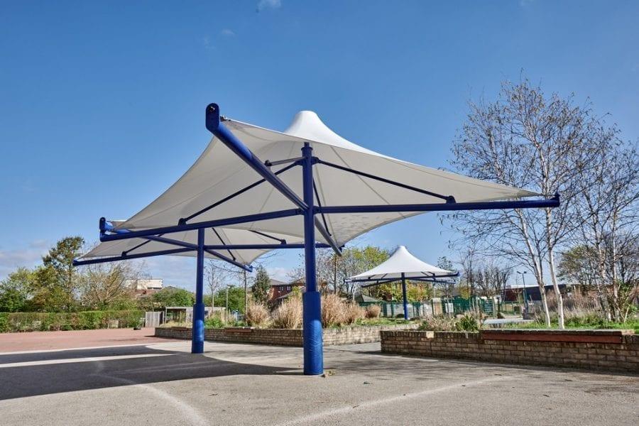 Umbrella canopies we designed for The Willow School