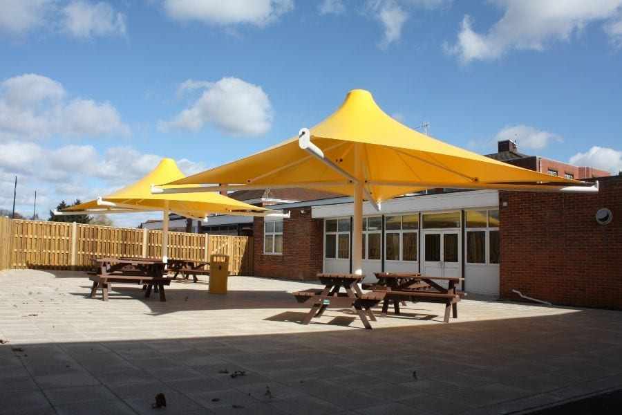 Yellow Umbrella Seating Area at Godalming College