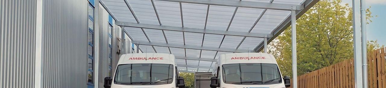 Ambulance canopy we designed for Gateshead NHS Trust