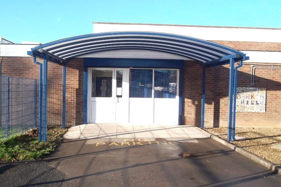 Blue Curved Roof Entrance Canopy