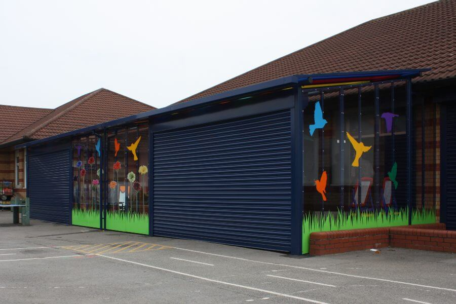 Blue Secure Canopy with Roller Shutters