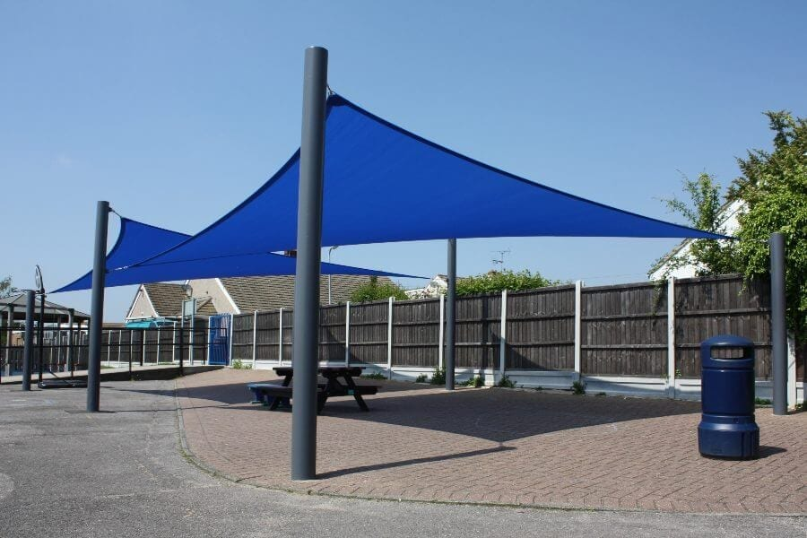 Blue Shade Sails Seating Areas