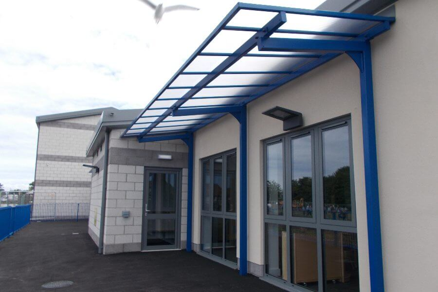 Blue Straight Roof Cantilever Canopy