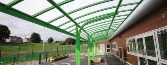 Cantilever canopy we installed at Ysgol Bro Alun