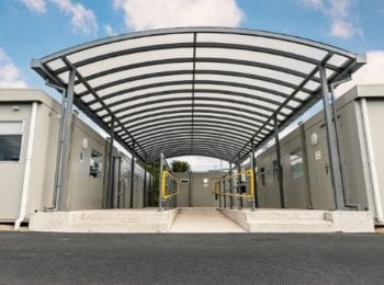 Commercial canopy we designed for Wareham Recycling Centre