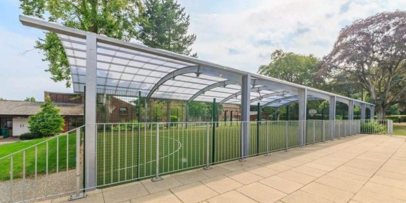 Covered MUGA structure we designed for Haileybury School