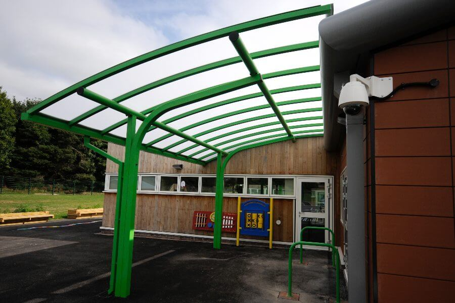 Green Curved Roof Cantilever Shelter