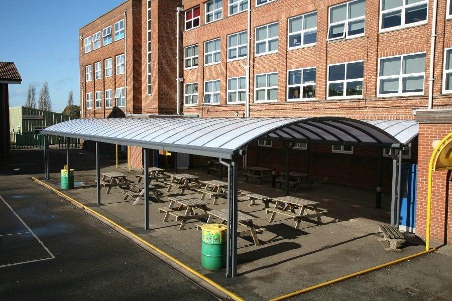 Kingsbury School Curved Roof Canopies