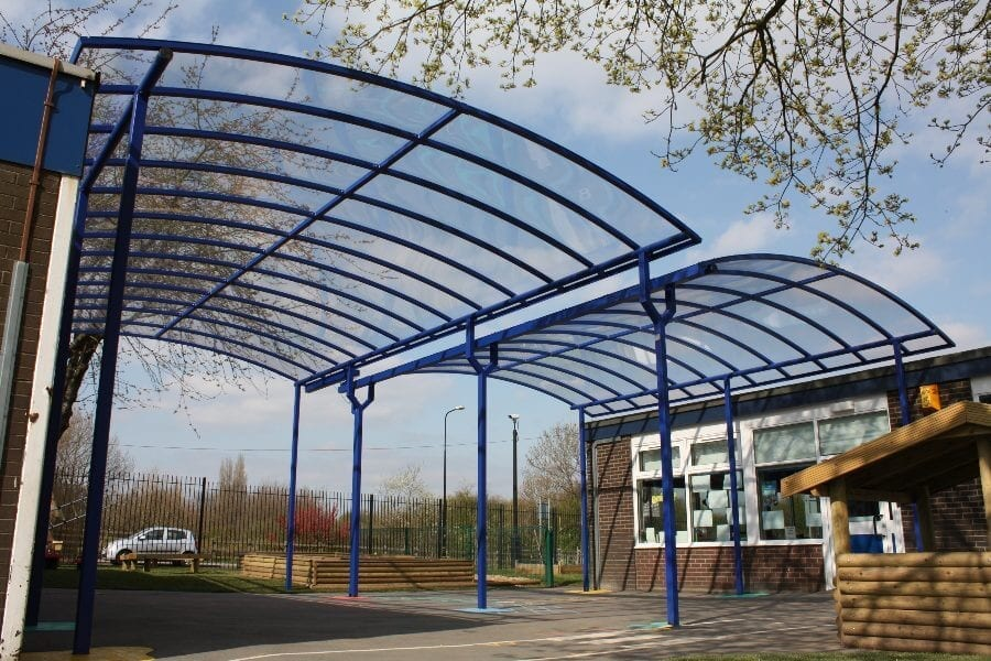 Large Blue Curved Roof Canopies