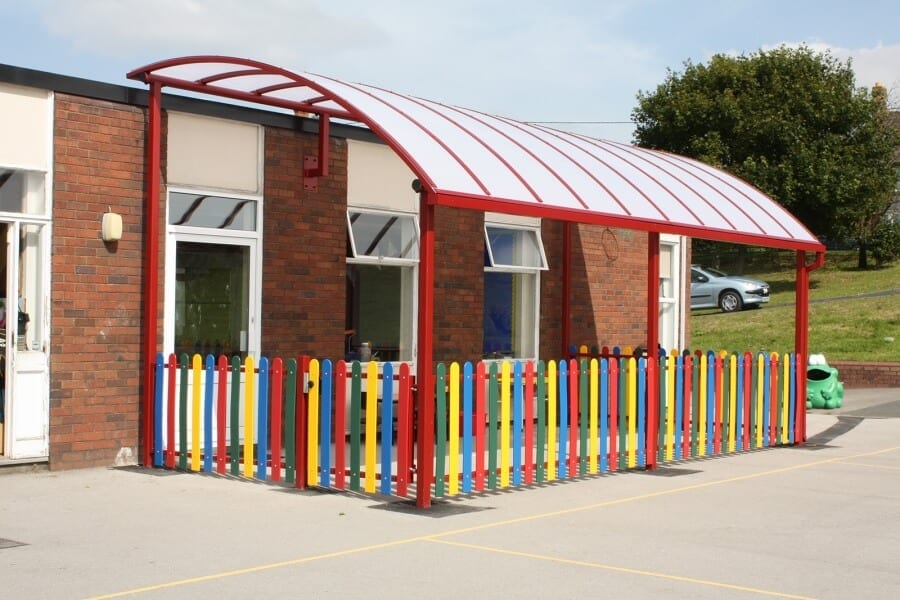 Red Curved Roof Playground Canopy