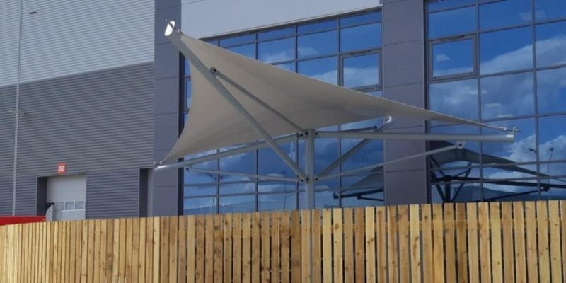 Shade sail we installed at Royal Mail Warrington