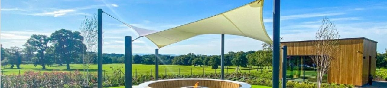 Sail shade we designed for Carden Park Hotel and Spa