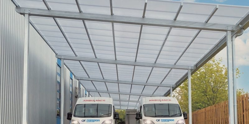 Straight roof shelter we made for Gateshead NHS Trust