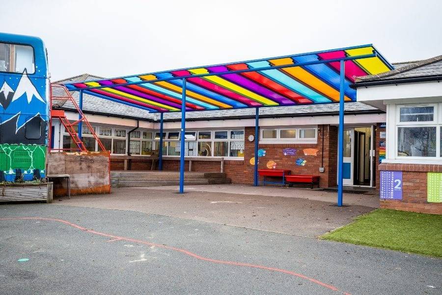 Straight roof canopy we designed for Old Church C of E Primary School