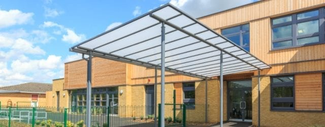 Straight roof shelter we designed for Simon Balle All Through School