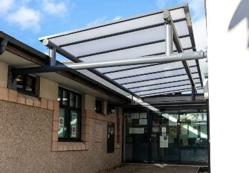 Wall-mounted canopy we installed at Plas Meddyg Surgery