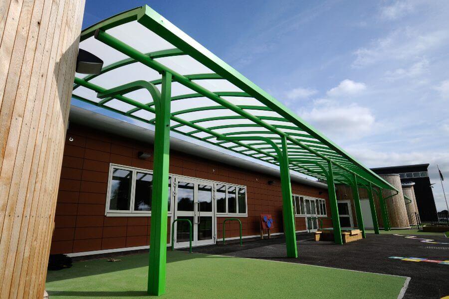 Ysgol Bro Alun Curved Roof Canopy