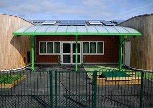 Cantilever canopy we designed for Ysgol Bro Alun