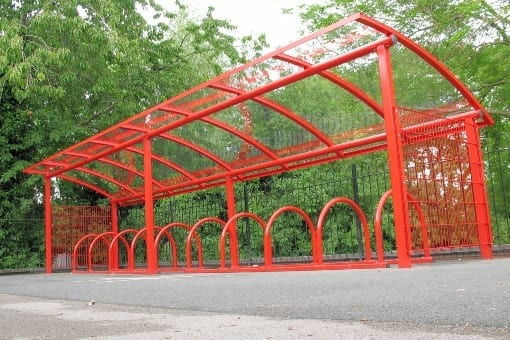 Red cycle shelter we designed for Minsterley Primary