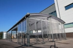 Enclosed canopy we installed at St Cuthberts