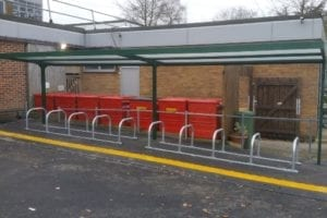 Cycle shelter we fitted at St Joseph's School