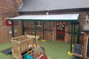 Straight roof green canopy we installed at The Hub Playgroup