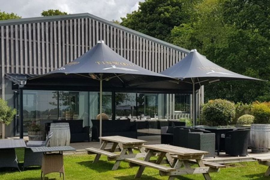 Black Fabric Parasol Canopies
