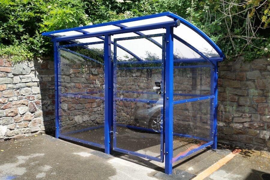 Blue Covered Buggy Shelter
