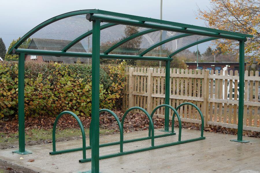 Green Curved Roof Bike Shelter