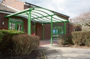 Entrance canopy we fitted at Loughborough Primary School
