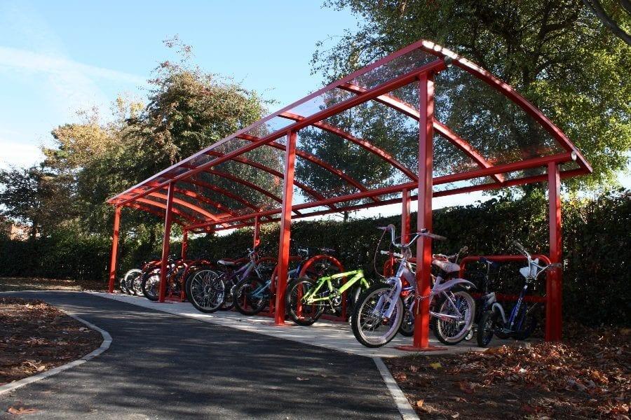 Red School Bike Shelter