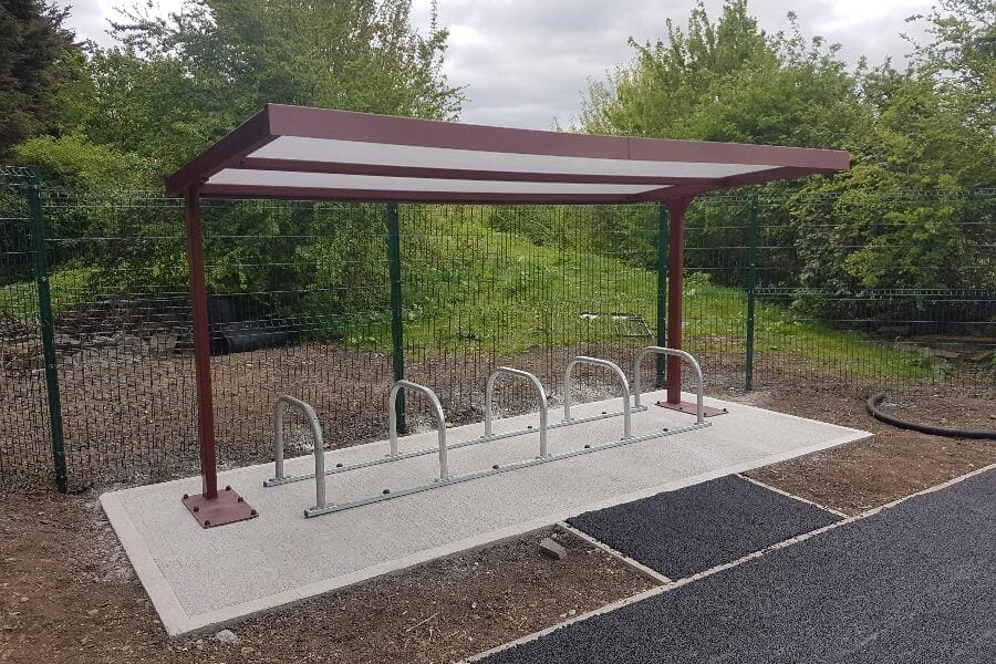 Red Straight Roof Cycle Shelter