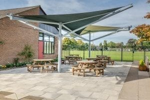 Fabric canopies we installed at The Perse School