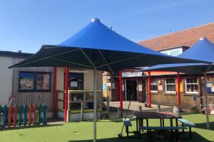Fabric canopy we made for Tudor Road Primary School