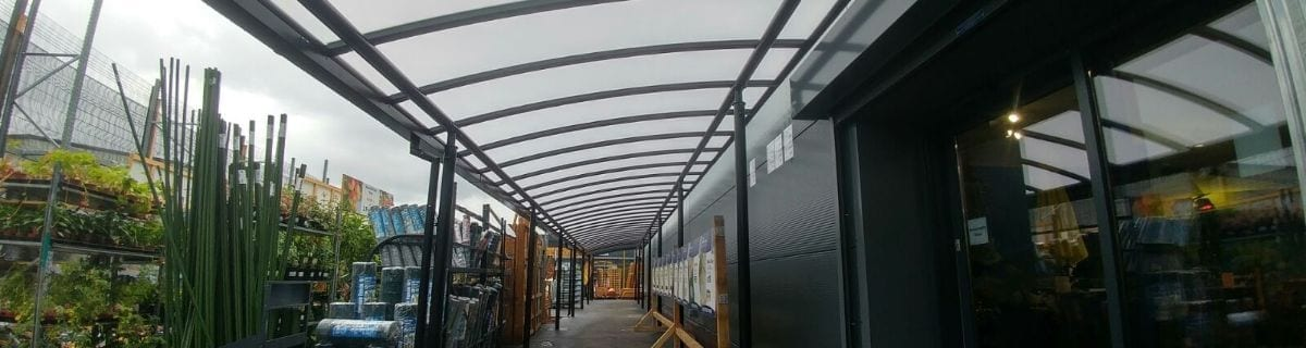 Covered walkway we installed at Taskers Garden Centre
