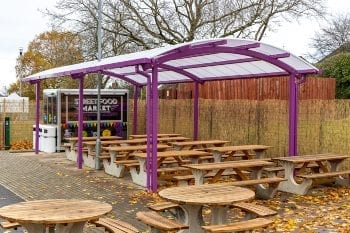Dining canopy we designed for Thistley Hough Academy