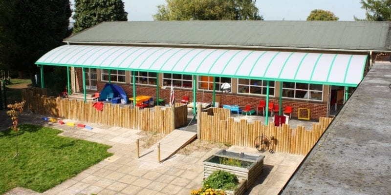 Ludlow Junior School Green Curved Roof Canopy