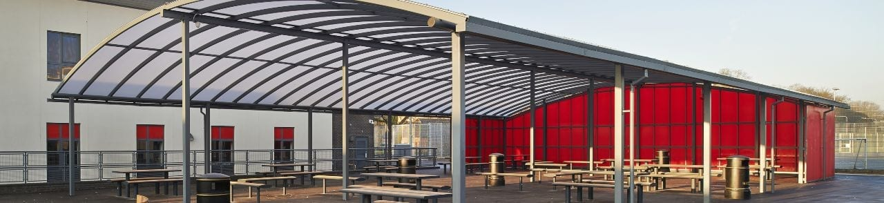 St Gilberd's School Curved Roof Canopy