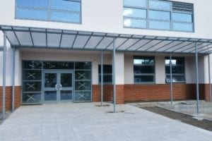 Entrance canopy we fitted at Buxton School