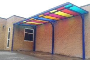 Multicoloured roof canopy we designed for Billing Brook School
