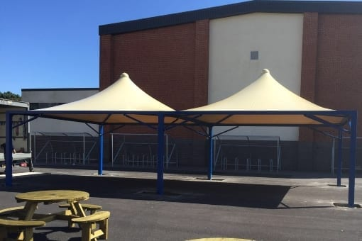 Fabric tepee canopies we designed for Parkstone Grammar