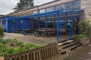 Dining area shelter we installed at R A Butler Academy