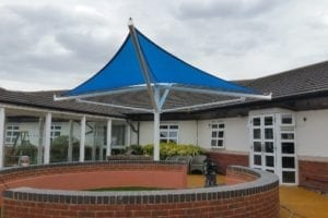 Shade sail we installed at Rochford Hospital