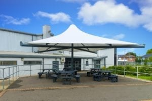 Umbrella canopy we installed at St Lawrence Academy