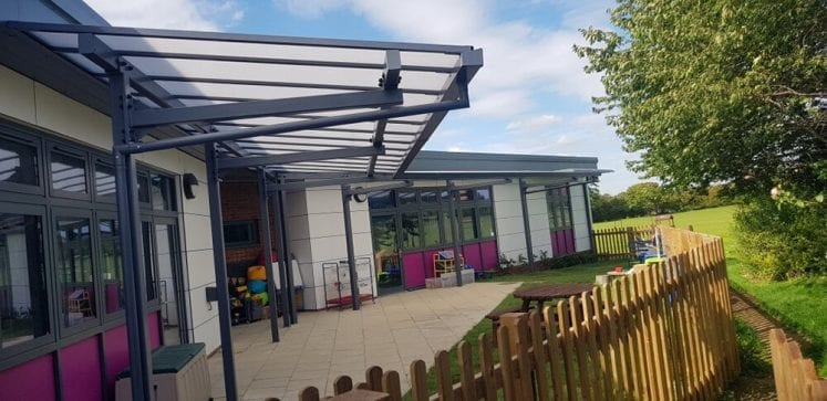 Roman Way First School Cantilever Canopy