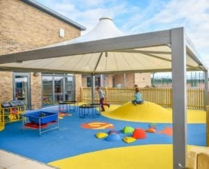 Fabric tepee playground canopy we installed at Watermoor Nursery